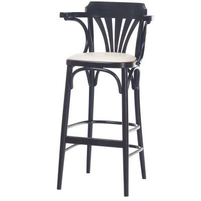 Number 135 Fanback Bentwood High Stool With Arms & Upholstered Seat