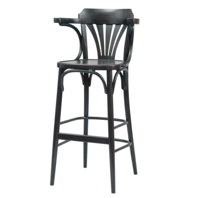 Number 135 Fanback Bentwood High Stool With Arms & Polished Seat