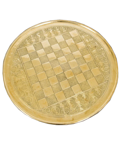 Round Brass Chess Board Table Top
