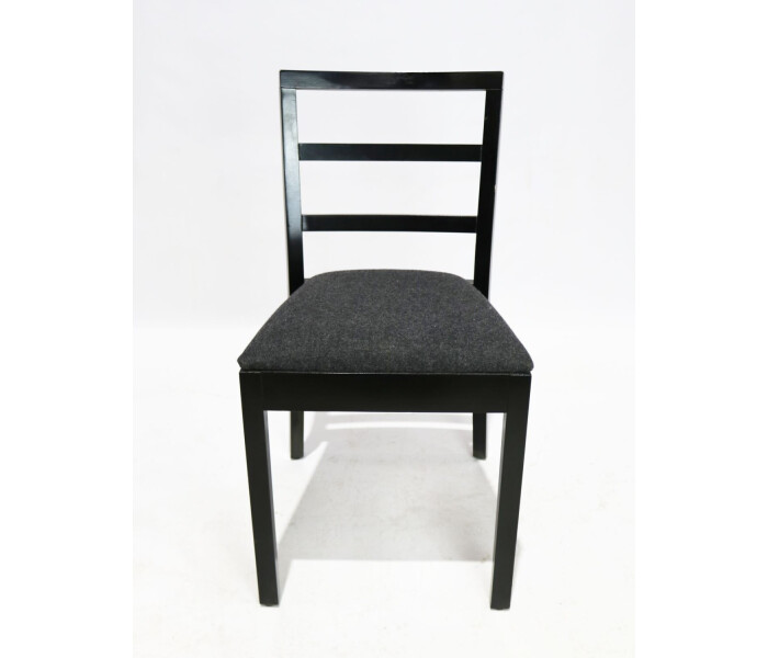 Beech dining chair grey upholstery 1