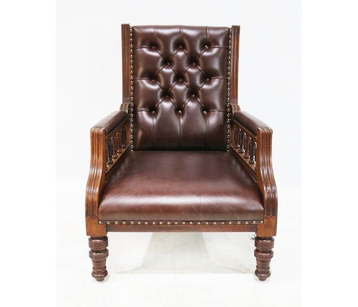 Brown leather chair 1