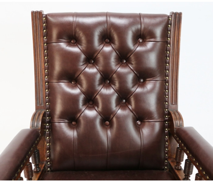 Brown leather chair 4
