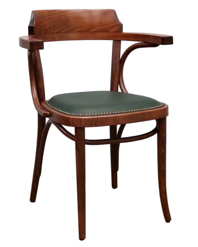 Number 25 Open Back Bentwood Dining Chair with Upholstered Seat
