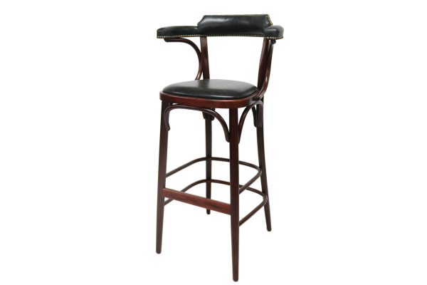 Number 135 Openback Bentwood High Stool With Arms Fully Upholstered