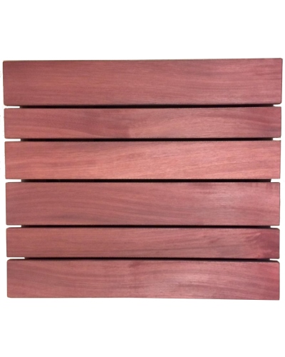 Iroko slatted top stained mahogany
