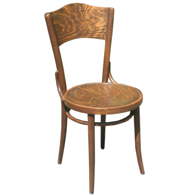 Number 54 Panel back chair with sunburst pattern and exclusive finish 3 1