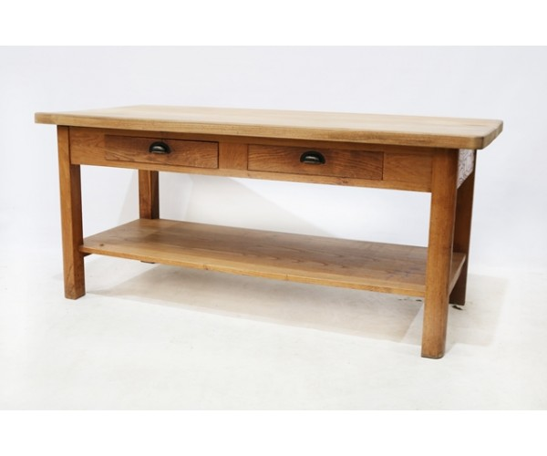 Oak two drawer counter 1