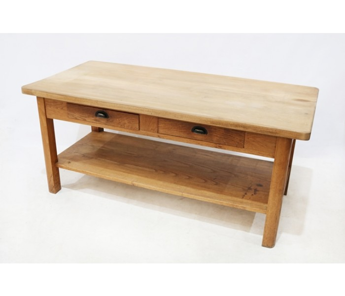 Oak two drawer counter