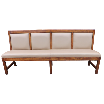 Panel Back 4 seater bench with upholstered back 27