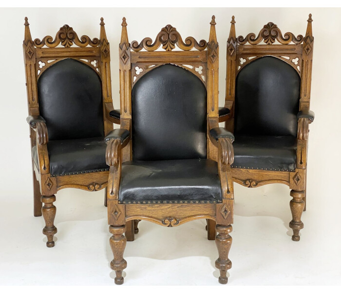 Three Amazing Quality Early 19th Century Gothic Oak Armchairs 1