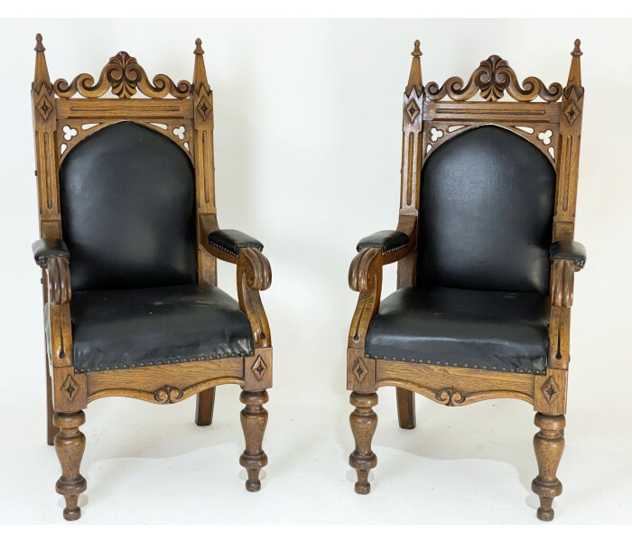 Three Amazing Quality Early 19th Century Gothic Oak Armchairs 2