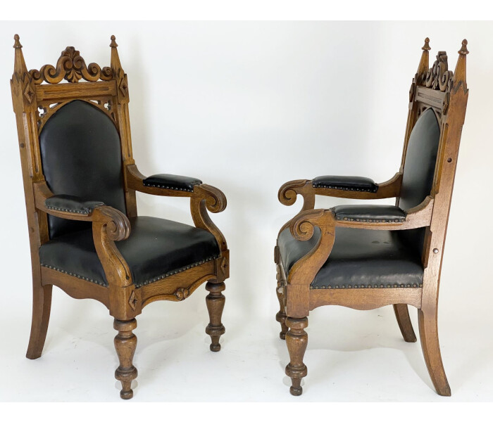 Three Amazing Quality Early 19th Century Gothic Oak Armchairs 4