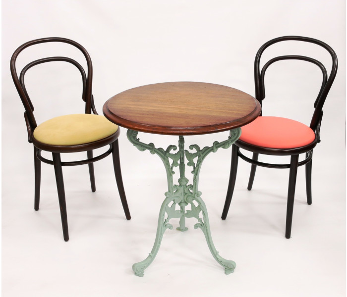 Vine Cast Iron Table Base Bentwood Chairs
